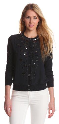 Jones New York Women's 3/4 Sleeve Embellished Cardigan Sweater