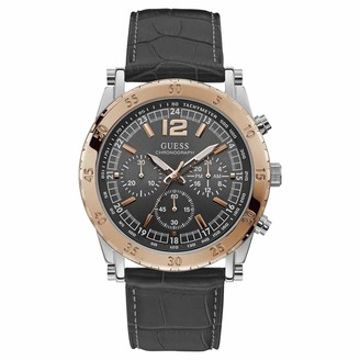 GUESS Men's Stainless Steel Analog Quartz Watch with Leather Crocodile Strap
