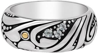 Devata Sterling Silver Bali Filigree CZ Dome Ring