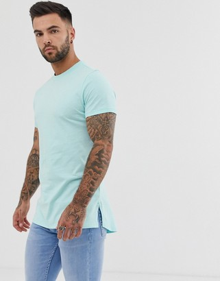 Asos DESIGN longline t-shirt with crew neck and side splits in blue
