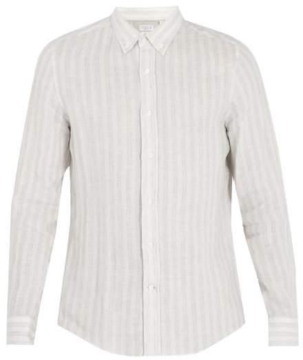 Brunello Cucinelli Striped Linen Shirt - Mens - White