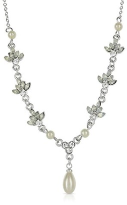 Johnny Loves Rosie Women Silver Plated Glass Chain Necklace of Length 44cm