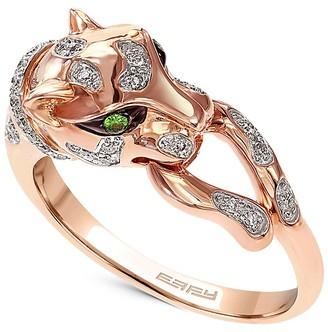 Effy 14K Rose Gold, Diamond Tsavorite Panther Ring