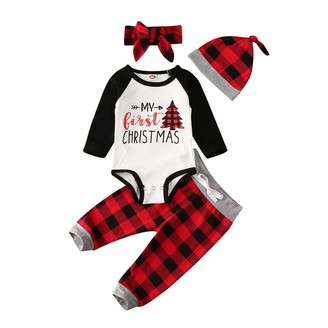 Pants Hat 3pcs//lot Tabpole Baby Boys Girls My First Christmas Stripe Outfit Suit Romper