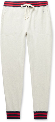Todd Snyder + Champion Slim-Fit Tapered Logo-Appliqued Contrast-Tipped Melange Loopback Cotton-Jersey Sweatpants