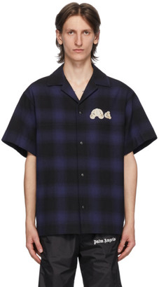 Palm Angels Blue and Black Check Bear Bowling Shirt