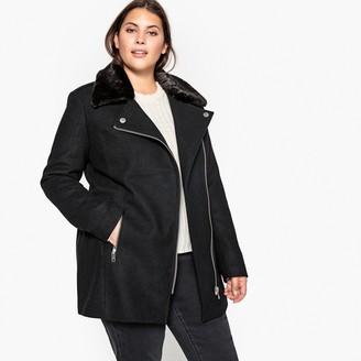 Castaluna Plus Size Faux Fur Collar Wool Blend Coat