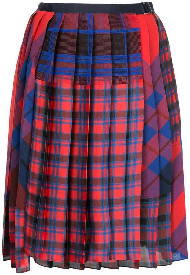 Sacai pleated plaid skirt