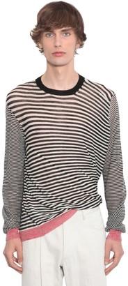 Ann Demeulemeester Asymmetric Light Wool Knit Sweater