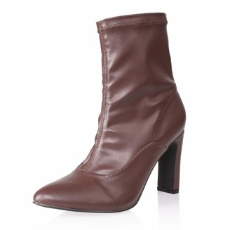 AIIT Women's Chunky High Heel Ankle Boot Shoe Brown Size8