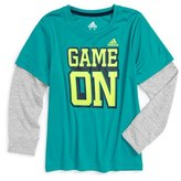 adidas 'Game On' Graphic Climalite ® T-Shirt (Toddler Boys & Little Boys)