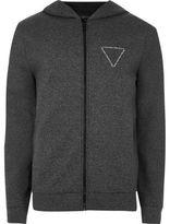 River Island Mens Dark grey logo zip up hoodie