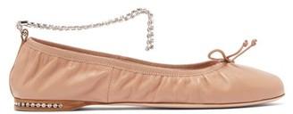 Miu Miu Crystal-anklet Leather Ballet Flats - Nude