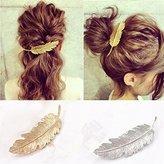 Miayon 2pcs Leaf Design Punk Women Girl Hair Clip Pin Claw Barrettes Accessories