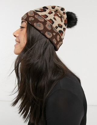 Aldo knitted long beanie in leopard print with black faux fur pom pom