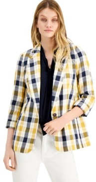 Bar III Plaid Notch-Collar Jacket, Created for Macy's