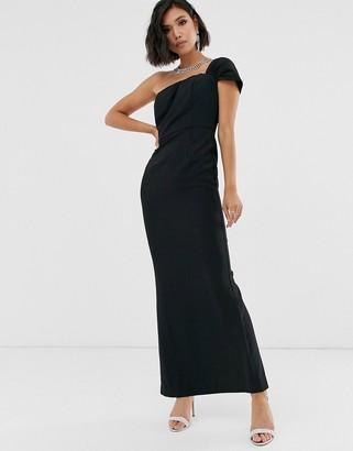 Bardot Yaura one shoulder sleek maxi dress in black