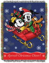"""Disney Mickey Mouse """"Mickey's Sleigh Ride"""" 48"""" x 60"""" Triple Woven Tapestry Throw"""