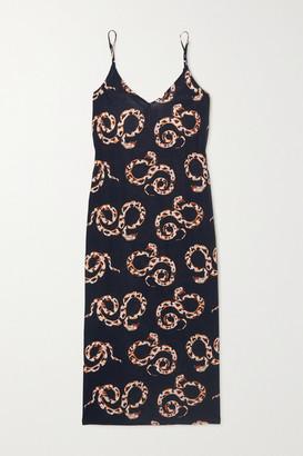 Desmond & Dempsey Printed Organic Cotton-voile Nightdress - Navy