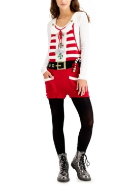 Hooked Up by IOT Juniors' Santa Sleeveless Holiday Sweater Romper