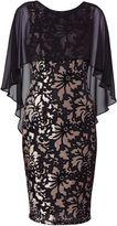 Gina Bacconi Lottie Floral Velvet Cape Dress