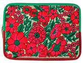 Red Flower Embroidery on Padded and Lined Tablet Sleeve Case, 'Blossoming Red'