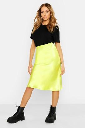 boohoo Neon Luxe Satin Bias Cut Midi Skirt