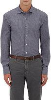 Barneys New York Men's Micro-Checked Poplin Shirt-BURGUNDY