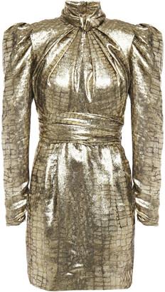 Dundas Cutout Gathered Silk-blend Lame-jacquard Mini Dress