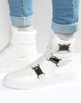 Asos High Top Sneakers In White With Buckle Straps