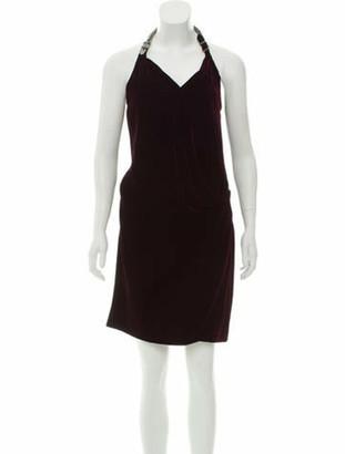 Hermes Velvet Open Back Dress Plum