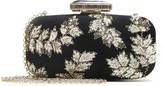 Oscar de la Renta Black & Gold Floral Embroidered Satin Goa Clutch