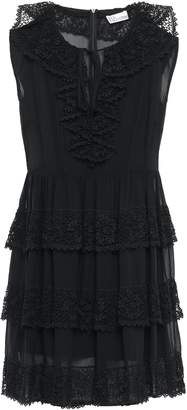 RED Valentino Lace-trimmed Tiered Silk-georgette Mini Dress