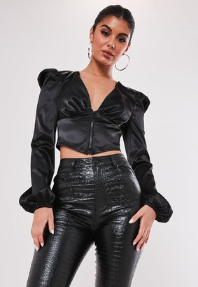 Missguided Petite Black Zip Front Puff Sleeve Blouse