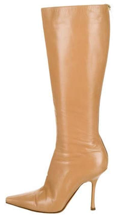 1725a9f0c1dc3 Leather Pointed-Toe Knee-High Boots Leather Pointed-Toe Knee-High Boots