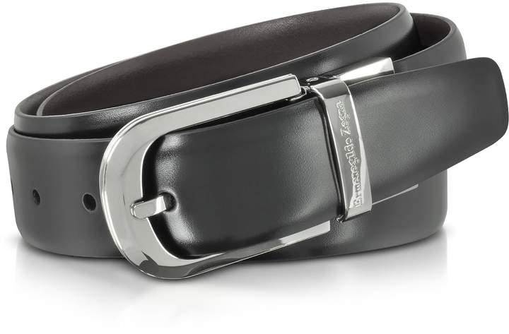 Ermenegildo Zegna Black Leather Reversible And Adjustable Belt W/silvertone Signature Buckle