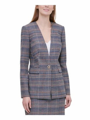 Calvin Klein Womens Brown Plaid Suit Wear to Work Jacket Petites Size: 6P