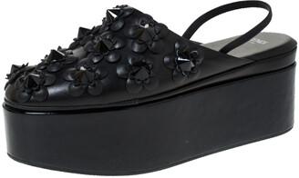 Fendi Black Leather And Patent FlowerLand Flat Platform Slingback Sandals Size 37