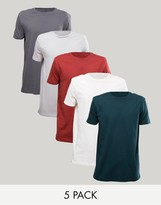 Asos 5 Pack Longline T-shirt Save