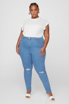 Nasty Gal Womens Get a Shred Start Plus Skinny Jeans - Light Wash
