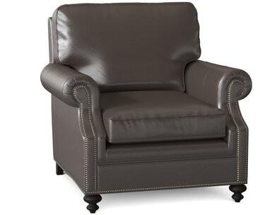 "Bradington-Young West Haven 37"" Wide Genuine Leather Club Chair Body Fabric: Alpine Cloudy, Leg Color: Cobblestone, Nailhead Detail: #9 Gunmetal"