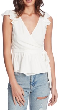 1 STATE Flutter-Sleeve Wrap Top