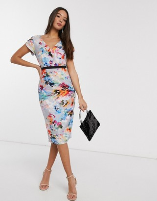 Little Mistress midi pencil dress in floral print