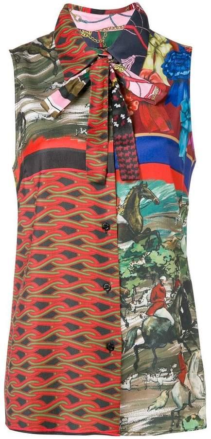Moschino multi print sleeveless shirt