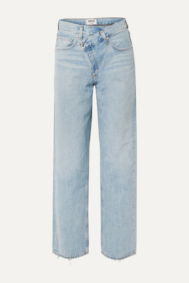 AGOLDE Criss Cross Upsized Distressed High-rise Wide-leg Jeans - Light denim