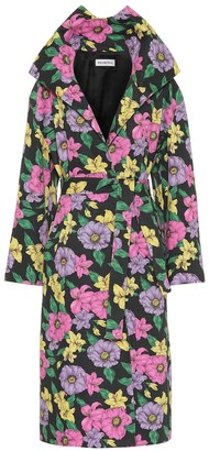 Balenciaga Floral cotton-drill trench coat