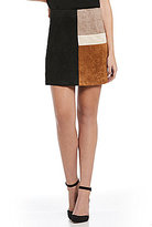 Sugar Lips Sugarlips Colorblock Faux Suede Skirt