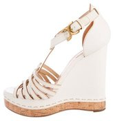 Chloé Leather Buckle Wedges
