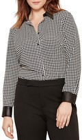 Lauren Ralph Lauren Plus Faux Leather Trim Houndstooth Shirt