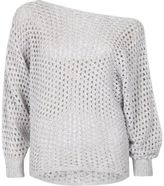 River Island Womens Grey mesh knit off shoulder batwing sweater